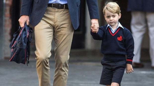 Prince William did the first school drop off alone as the Duchess of Cambridge was ill with morning sickness.
