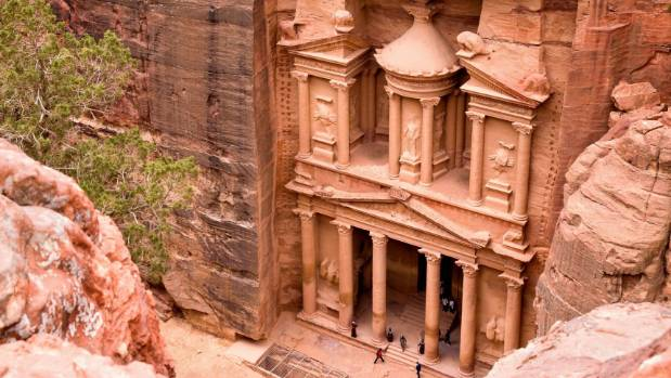The Treasury. Ancient city of Petra carved out of the rock, Jordan.