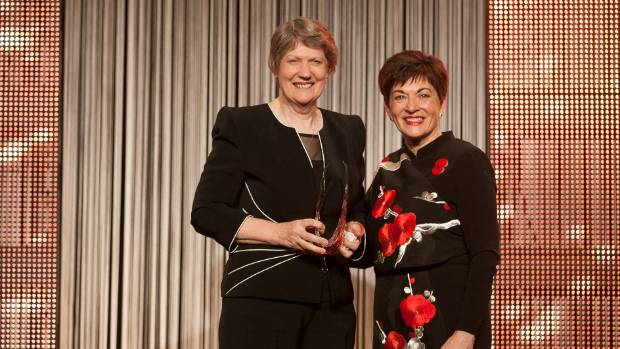 Former Prime Minister Helen Clark is presented with her Woman of Influence lifetime achievement award by Governor ...