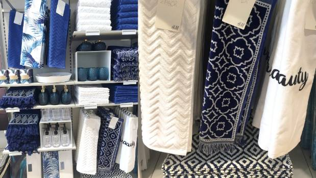 Fresh blues and whites in quality weaves are on offer for the bathroom.