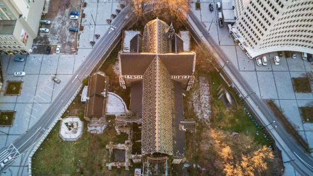 An aerial shot of Christ Church Cathedral.