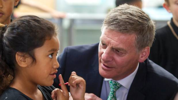 Prime Minister Bill English met some of the students at the ministerial opening of the Haeata Community Campus in March.