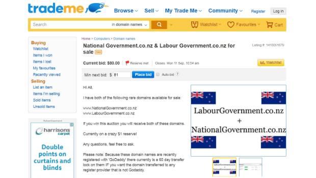 Joke Trade Me auction for political web domains draws huge