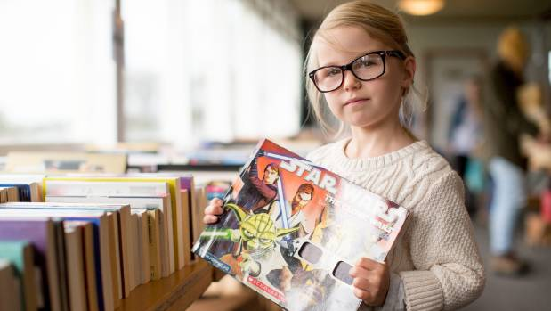 Six-year-old Piper Armistead went for a Star Wars 3D book.
