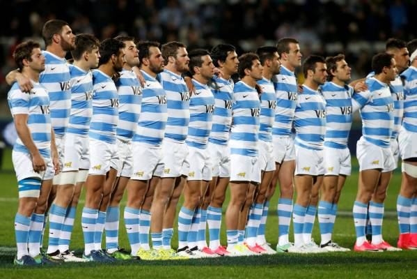 Argentina sing their national anthem before taking on the All Blacks.