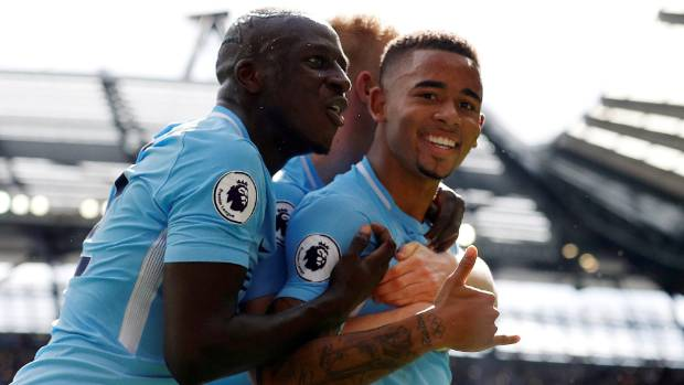 Manchester City's Gabriel Jesus celebrates scoring during his side's 5-0 drubbing of Liverpool.