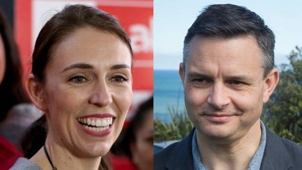 Labour's Jacinda Ardern and James Shaw, the leader of the Greens.