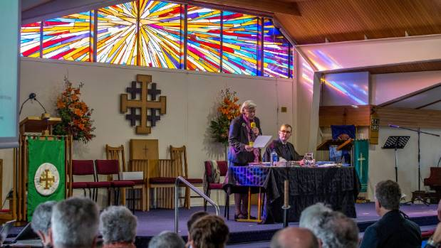 Bishop Victoria Matthews and Church Property Trustees lawyer Jeremy Johnson at St Christopher's Church in Avonhead for ...