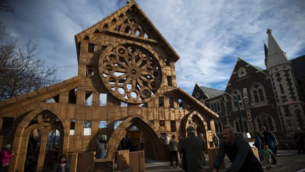 French artist Olivier Grossetete designed a temporary cardboard cathedral art installation made using only cardboard ...