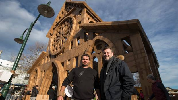 Olivier Grossetete, Ephemeral City design artist, left and Craig Cooper, Christchurch Arts Festival Director on the ...
