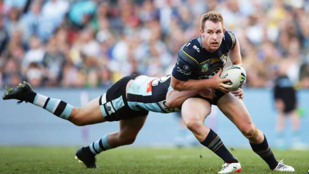 Michael Morgan of the Cowboys looks for options against the Sharks in the tense playoff at Allianz Stadium.