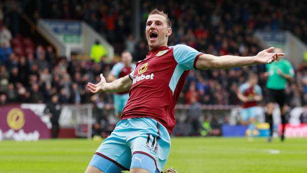Chris Wood celebrates scoring the early goal for Burnley.