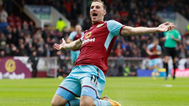 Chris Wood reacts after scoring Burnley's winning goal against Crystal Palace.