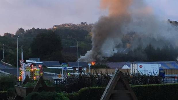 Flames could be seen from across the road in Te Puna.