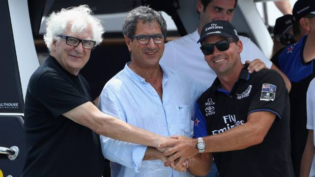 Patrizio Bertelli, team principal of Luna Rossa, Agostino Randazzo, president of the Yacht Club Sicilia; and Steve Mair, ...
