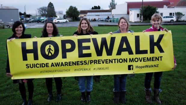 Hope Walk organisers Keryn Taylor; Talai Loma; Siti Jongkind; Jo McLean and Tullia Wilson.