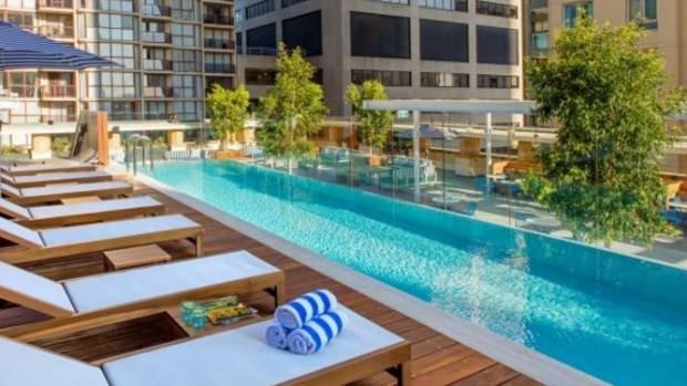 The rooftop pool next to Level Seven bar Primus Hotel Sydney.