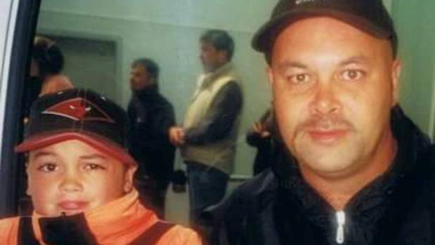 A young Nathan de Lautour Hone with his father, Shayne.