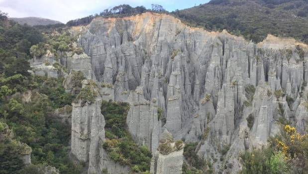 "Putangirua Pinnacles are one of New Zealand's best examples of ""badlands erosion""."