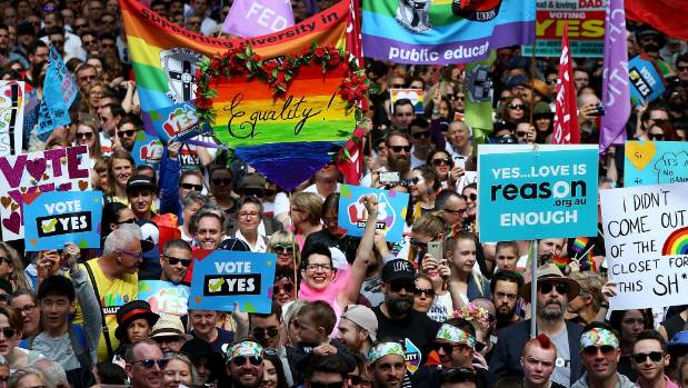 On September 10 thousands gathered at Sydney Town Hall to rally for marriage equality ahead of a national postal survey.