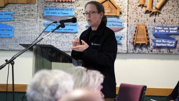 NZTA Waikato System Manager Karen Boyt updates the crowd about work being done on Coromandel highways at a public ...
