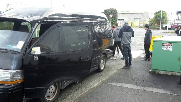 These tourists were found siphoning diesel into a stormwater drain near Haven Road, Nelson on Saturday after they put ...