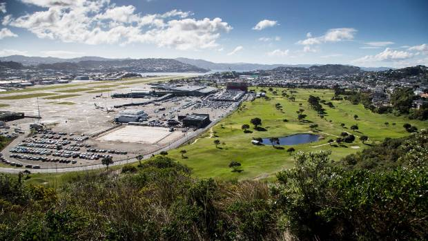 Wellington Airport and Miramar Golf Club seen from Strathmore Park, looking north.