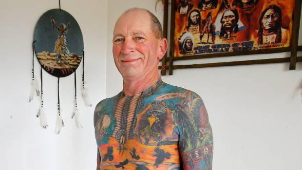 Temuka man Milton Jones is 188 hours into a full body tattoo which he began 2 and a half years ago.