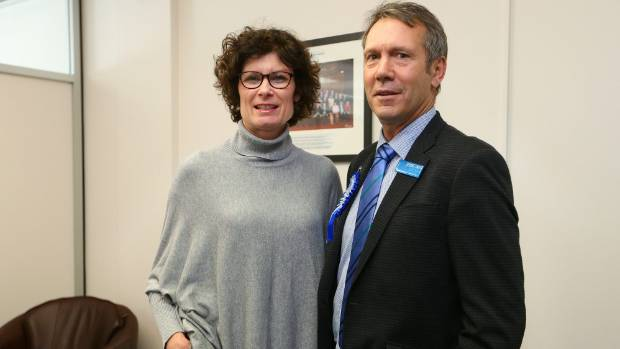 Stuart Smith with his wife, Julie, at his Blenheim electorate office.