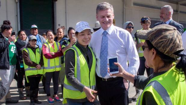 Bill English poses for an ever-popular selfie while out on the campaign trail in Levin.