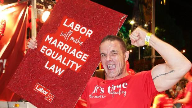 Ian Roberts, dancing during Sydney's 2016 Sydney Gay & Lesbian Mardi Gras Parade, worried the NRL might say no to his ...