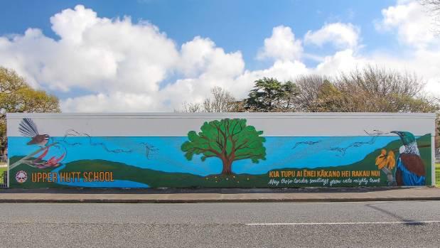 The new mural outside Upper Hutt School on Blenheim St.