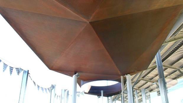 The new $300,000 bus shelter at Blenheim's railway station has been designed to mimic the peaks and valleys of the ...