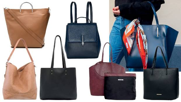 Clockwise from top centre: Karen Walker backpack, $480; Mon Purse bag, $450; Tony Bianco bag, $100 from The Iconic; ...
