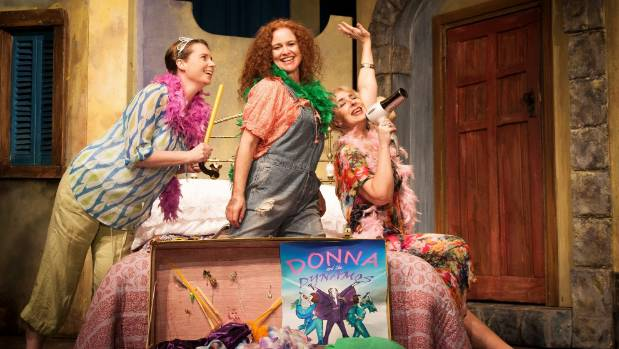 Ally Hossain as Rosie, left, Glenna Armstrong as Donna and Amanda Crehan as Tanya in Mama Mia the musical by Nelson ...