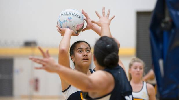 Marlborough Girls' College shooter Malia Manoa shows the style that earned her the 2017 Marlborough Netball Centre ...