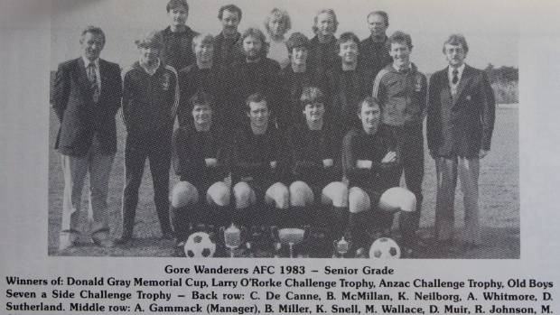 The victorious 1983 Gore Wanderers football team after winning the Southland premier Donald Gray Cup title, Mike Wallace ...