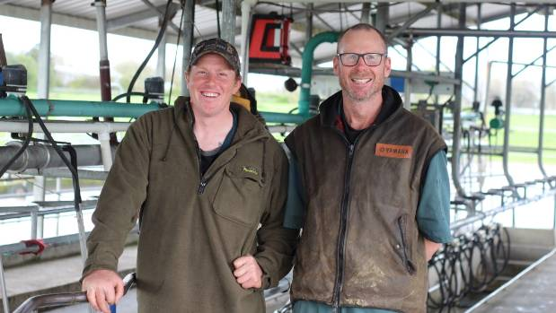 Ngatea P3 Trust focus farm contract milker Troy Tilyard, left, with owner Campbell Clayton-Greene.