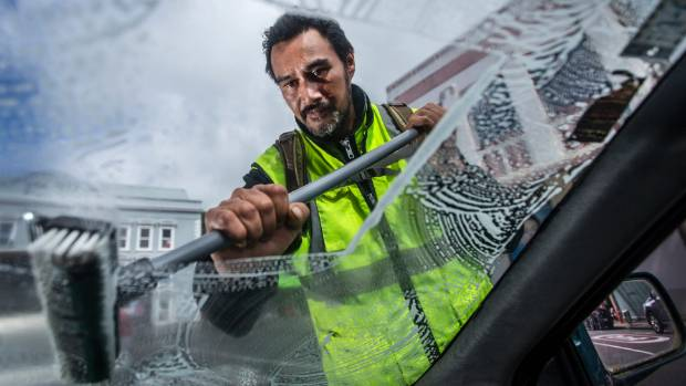 Selwyn Lucan Phillips, from New Plymouth, wants window washing at traffic lights to be made legal.