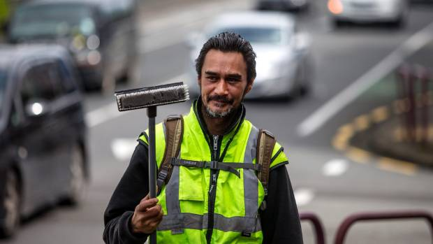 Phillips hitch-hikes in from Parihaka, in South Taranaki, to New Plymouth to wash windows.