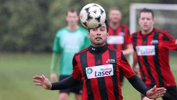 Gore Wanderers top goal scorer Miguel Ortiz in action against Southend United at Bain Park Invercargill