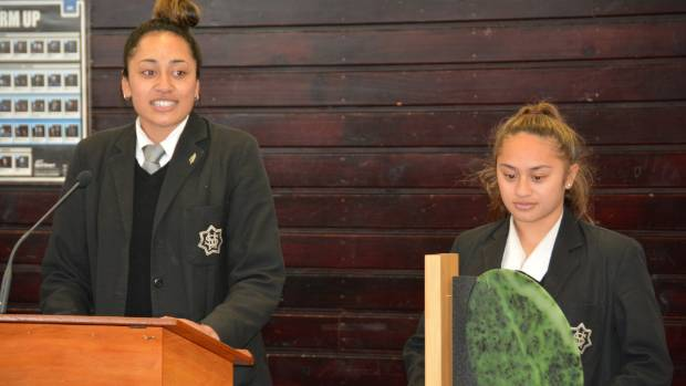 St Mary's College first XV captain Dhys Faleafaga, left, speaks at a special assembly on Tuesday, while Cheyne Copeland ...