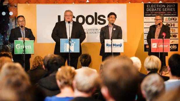 From left, Green candidate David Lee, National's Gerry Brownlee, independent candidate Raf Manji and Labour's Anthony ...