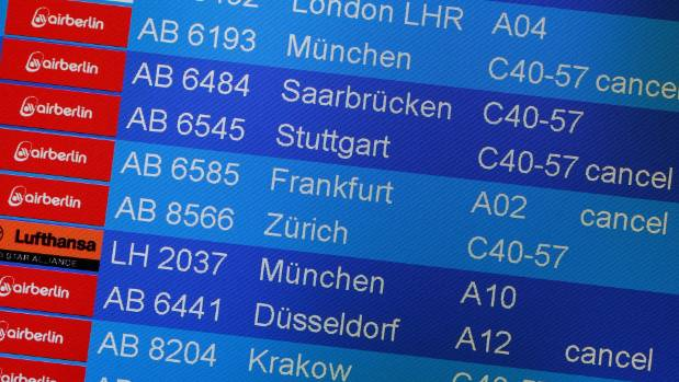 Air Berlin had to cancel flights at Tegel airport in Berlin