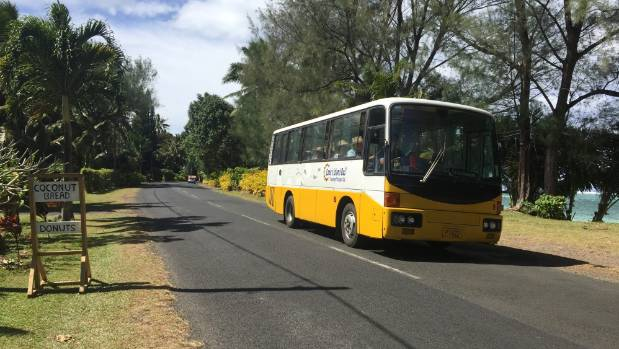 A bus service circles Rarotonga clockwise and anti-clockwise all day.