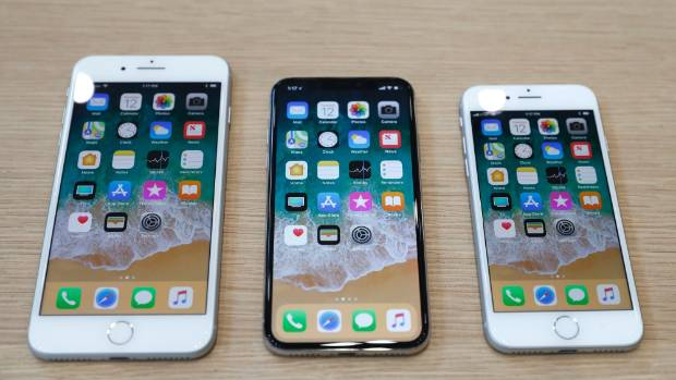 From left, iPhone 8 Plus, iPhone X and iPhone 8 models.