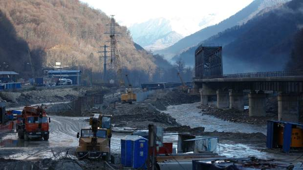 A view shows a road and railway link to Krasnaya Polyana, a venue for the Sochi 2014 winter Olympics, under construction ...