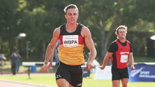 FILE PIC: Cameron French on the home stretch as Waikato win this year's men's 4x100 relay during the national track and ...