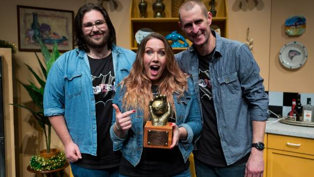 Ryan Knighton, left, Leona Revell and Alan Dingley from Spontaneous after their win at the National Theatresports Awards.