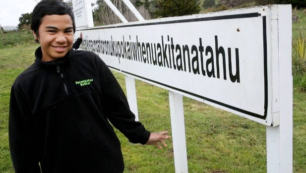 Billy Jackson, 12, of Porangahau School shows us how to say the 89-letter place name.